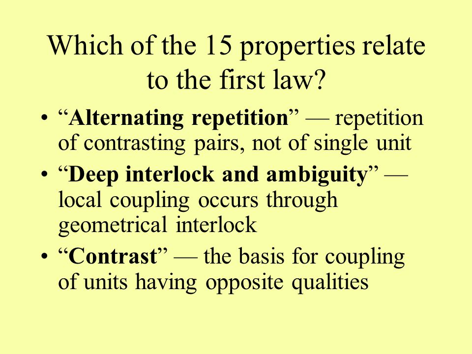 Which of the 15 properties relate to the first law.