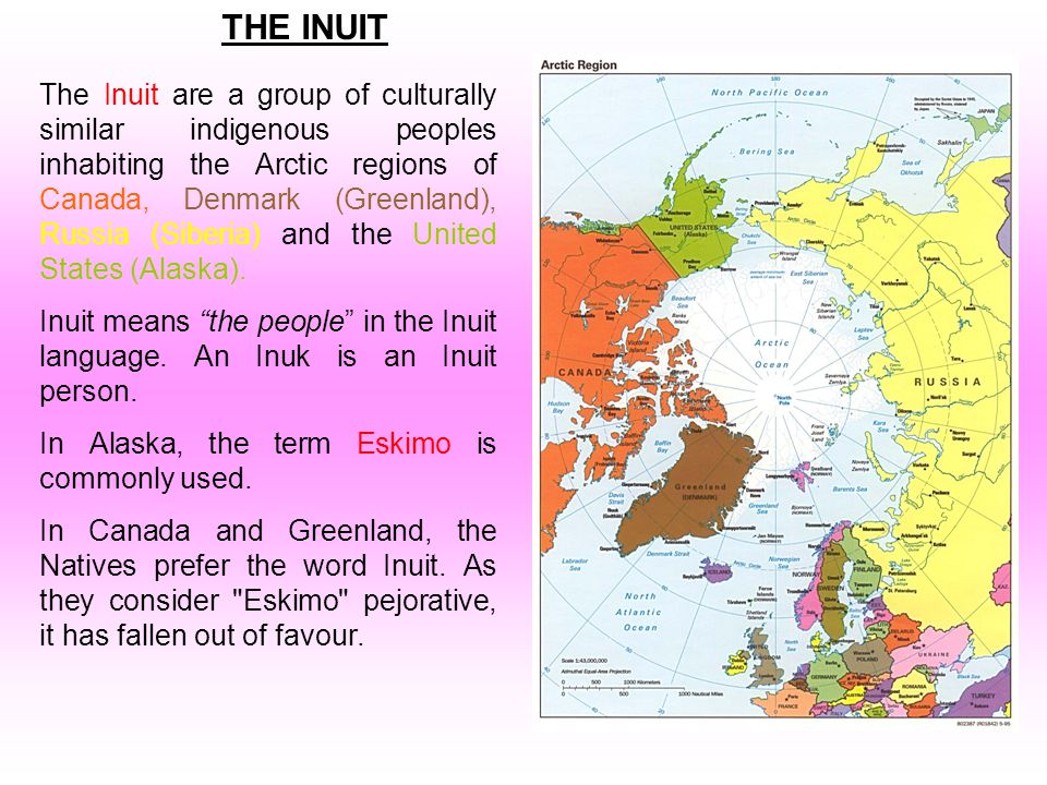 The Inuit are a group of culturally similar indigenous peoples inhabiting the Arctic regions of Canada, Denmark (Greenland), Russia (Siberia) and the United States (Alaska).