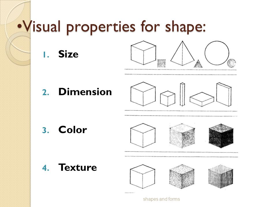 Visual properties for shape:Visual properties for shape: 1. Size 2. Dimension 3. Color 4. Texture shapes and forms