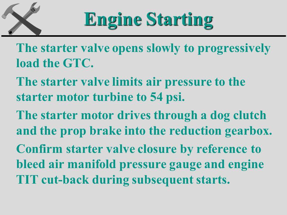 The starter valve opens slowly to progressively load the GTC.