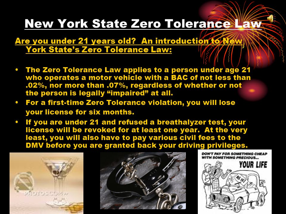 An Introduction to New York State DWI (Alcohol) Laws New York Driving While Intoxicated ( DWI ) laws can be prosecuted under two different legal theories: 1.Prosecuted for violating the per se law- which is based only on alcohol level, not driving impairment.