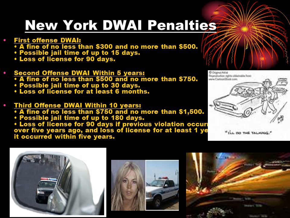New York Aggravated DWI Penalties First Offense Aggravated DWI: A fine of no less than $1,000 and no more than $2,500.