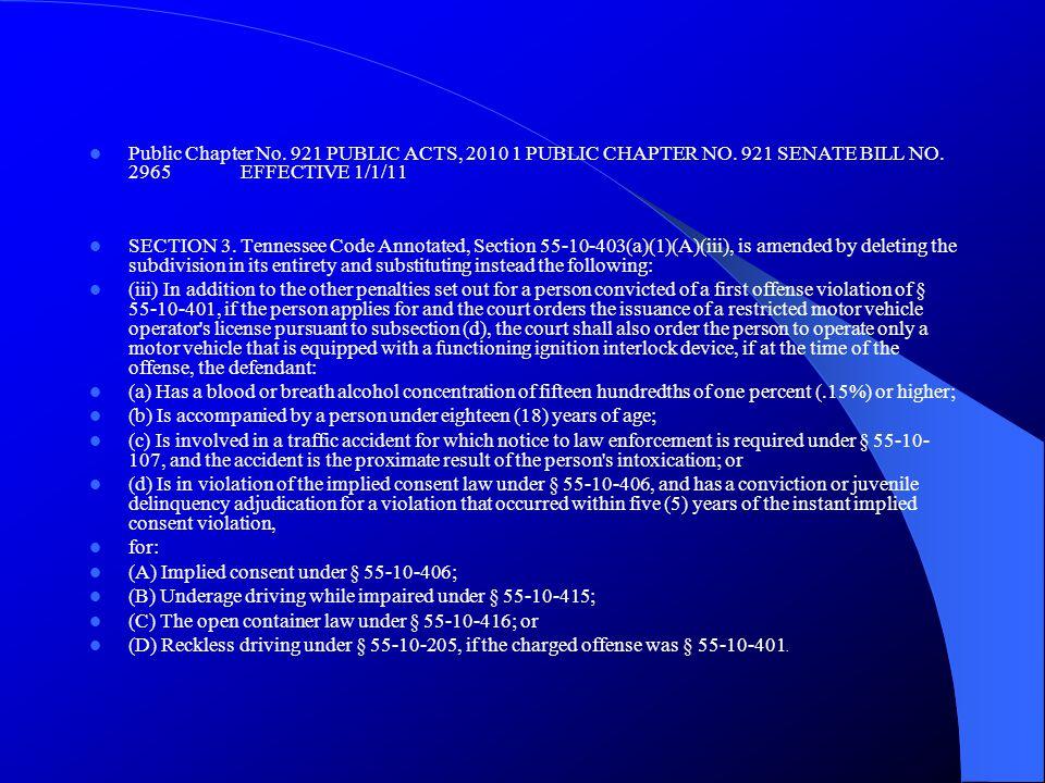 Public Chapter No.921 PUBLIC ACTS, 2010 1 PUBLIC CHAPTER NO.