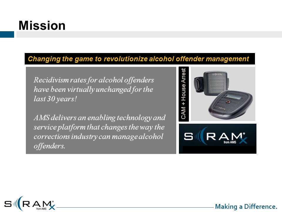 Mission Changing the game to revolutionize alcohol offender management CAM + House Arrest Recidivism rates for alcohol offenders have been virtually unchanged for the last 30 years.