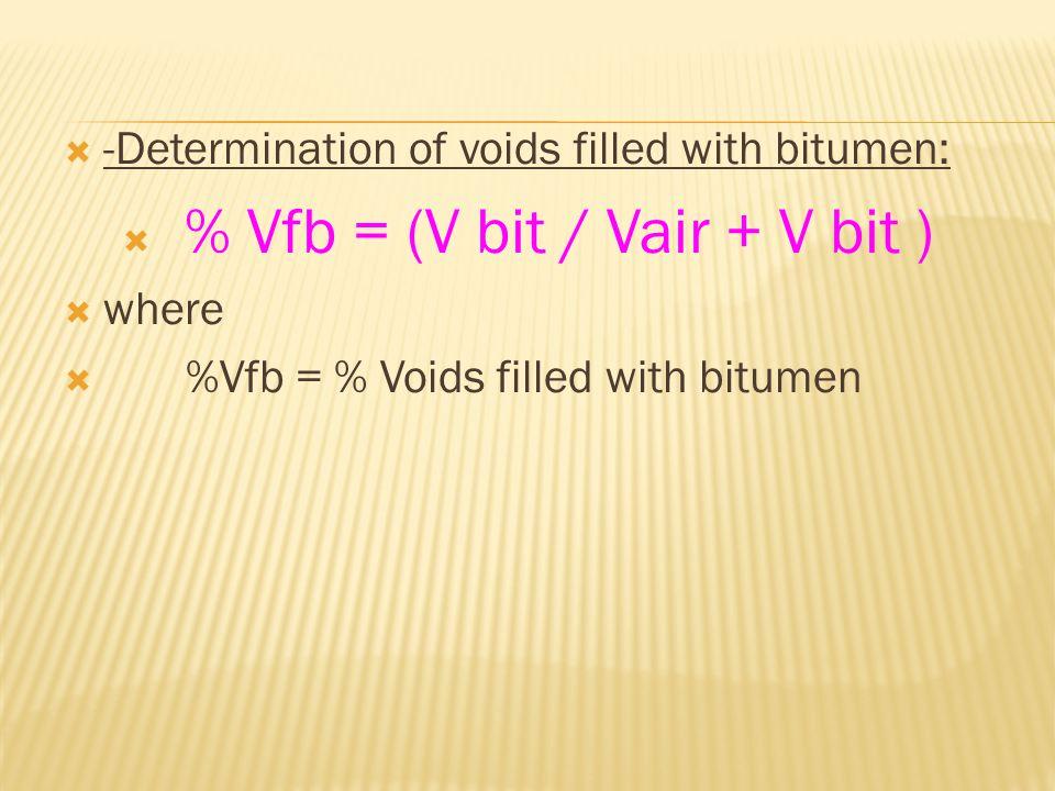  -Determination of voids filled with bitumen:  % Vfb = (V bit / Vair + V bit )  where  %Vfb = % Voids filled with bitumen