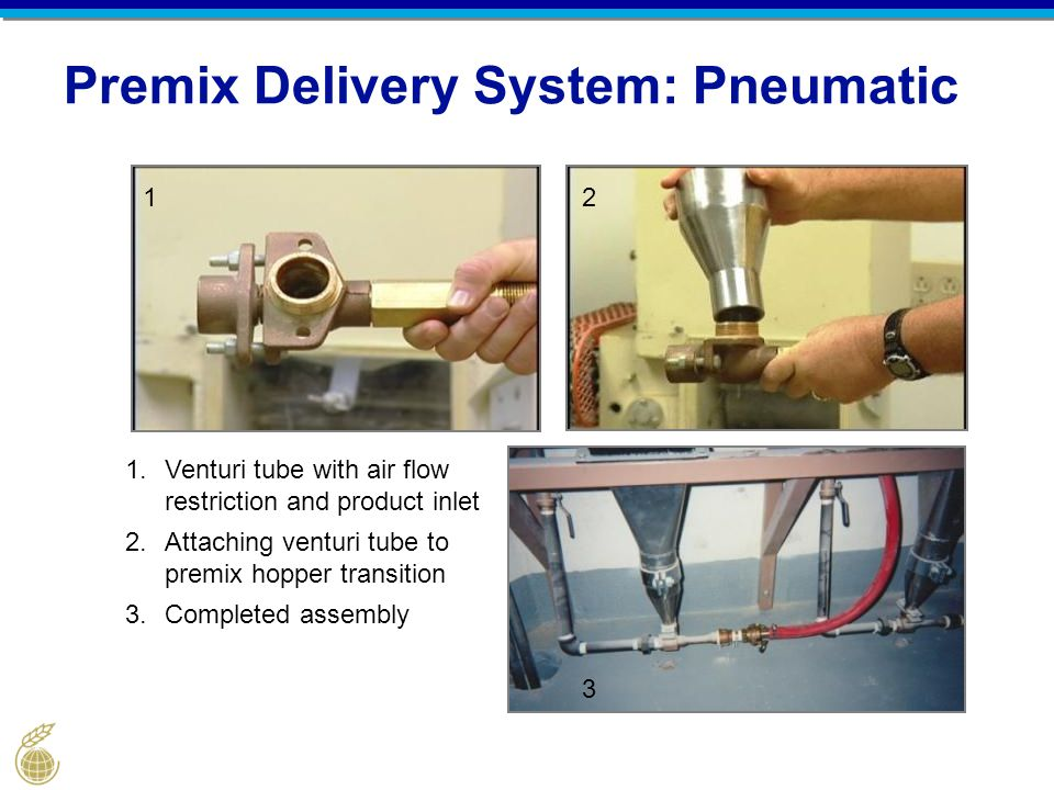 Premix Delivery System: Pneumatic 1.Venturi tube with air flow restriction and product inlet 2.Attaching venturi tube to premix hopper transition 3.Co