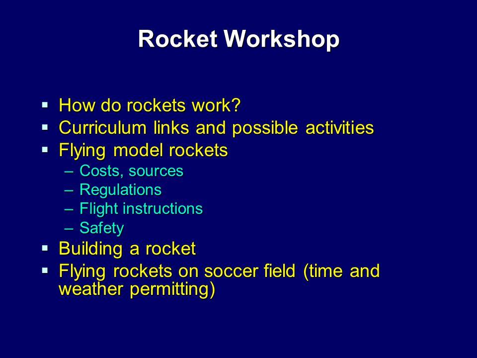 Rocket Workshop  How do rockets work.