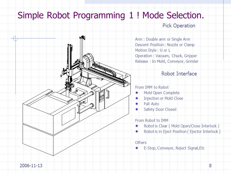 2006-11-138 Simple Robot Programming 1 ! Mode Selection. Pick Operation Arm : Double arm or Single Arm Descent Position : Nozzle or Clamp Motion Style