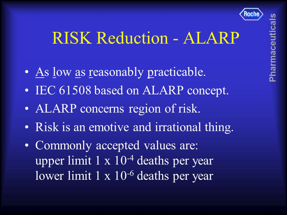 Pharmaceuticals RISK Reduction - ALARP As low as reasonably practicable.