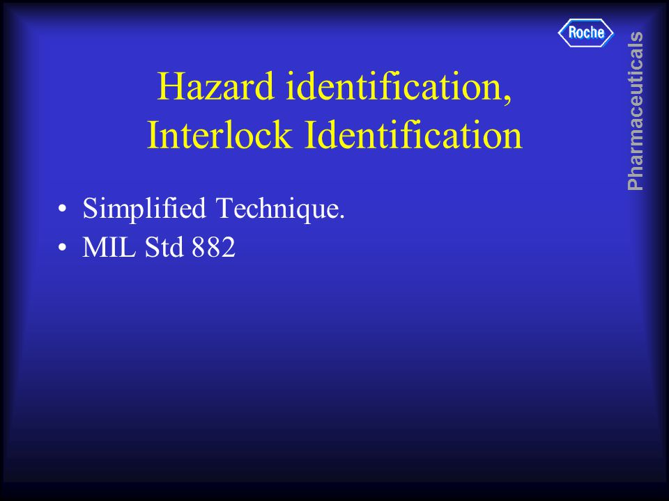 Pharmaceuticals Hazard identification, Interlock Identification Simplified Technique. MIL Std 882