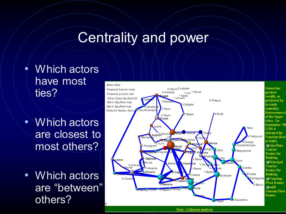 13 Centrality and power Which actors have most ties.