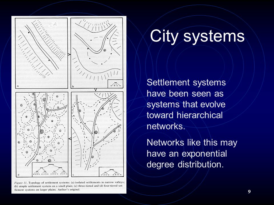 9 City systems Settlement systems have been seen as systems that evolve toward hierarchical networks.