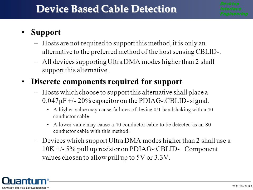 ELK 10/24/98 Desktop Interface Engineering Device Based Cable Detection Support –Hosts are not required to support this method, it is only an alternative to the preferred method of the host sensing CBLID-.