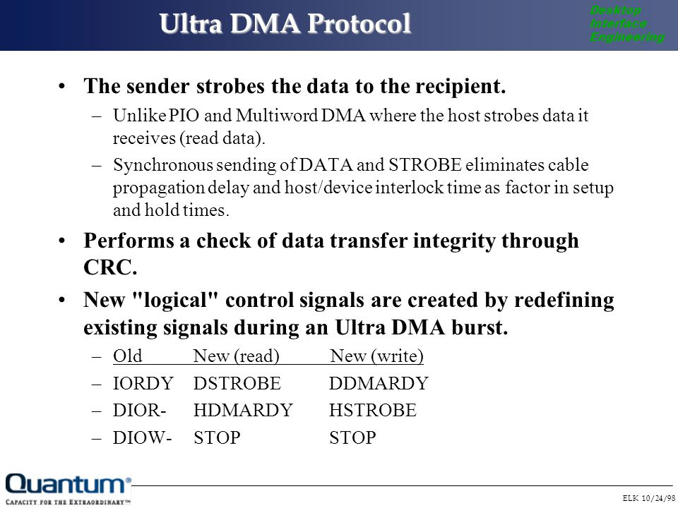 ELK 10/24/98 Desktop Interface Engineering Ultra DMA Protocol Ultra DMA protocol is only active during a burst.