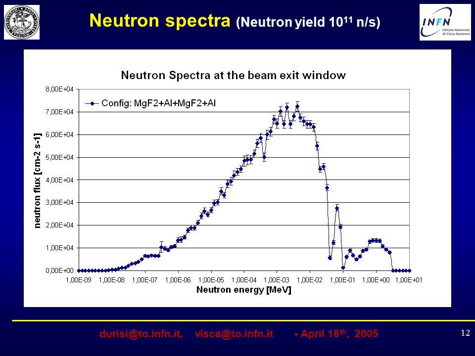 durisi@to.infn.it, visca@to.infn.it - April 18 th, 2005 12 Neutron spectra (Neutron yield 10 11 n/s)