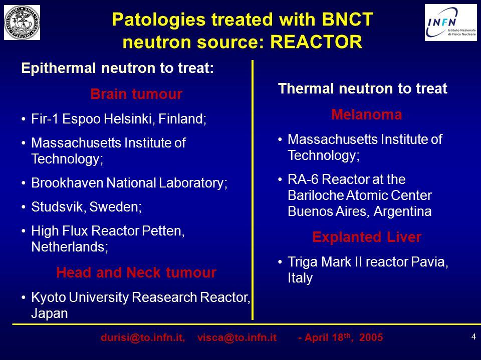 durisi@to.infn.it, visca@to.infn.it - April 18 th, 2005 4 Patologies treated with BNCT neutron source: REACTOR Epithermal neutron to treat: Brain tumo