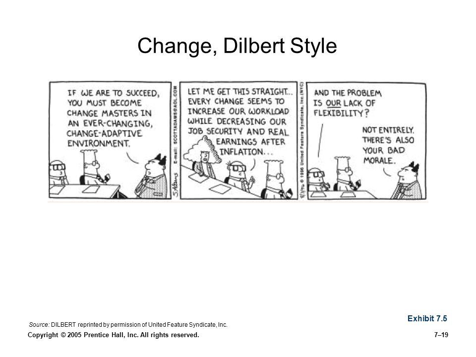 Copyright © 2005 Prentice Hall, Inc. All rights reserved.7–19 Change, Dilbert Style Exhibit 7.5 Source: DILBERT reprinted by permission of United Feat