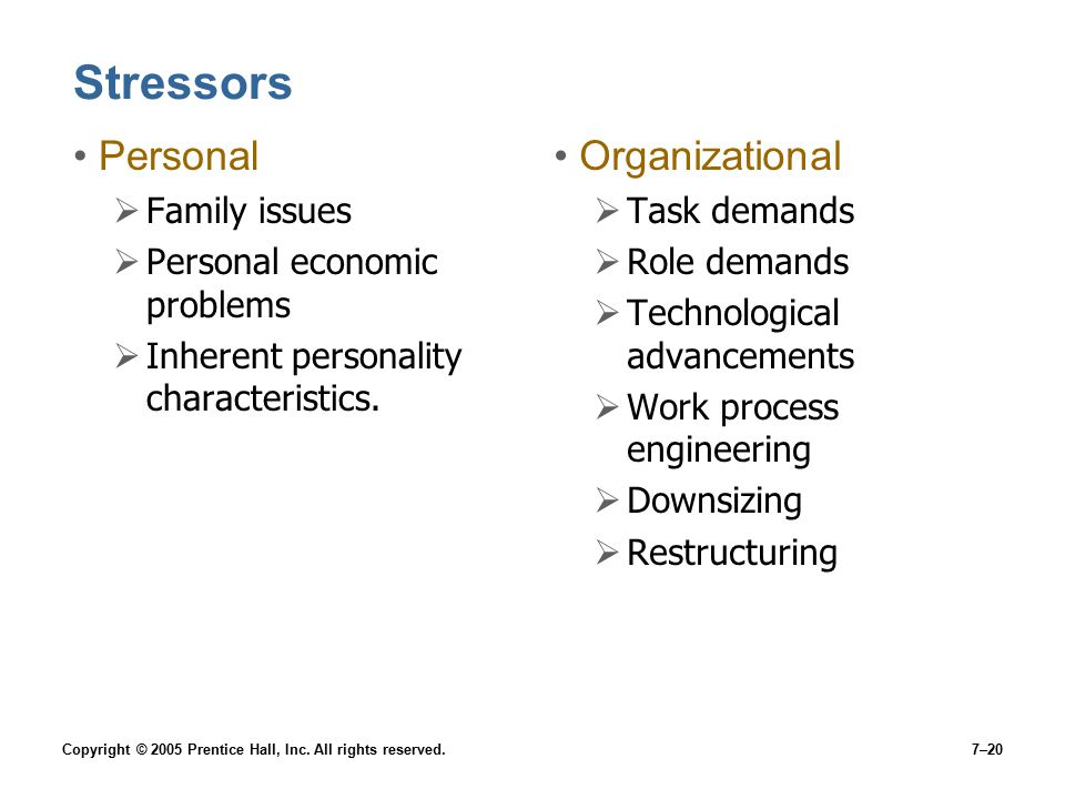 Copyright © 2005 Prentice Hall, Inc. All rights reserved.7–20 Stressors Personal  Family issues  Personal economic problems  Inherent personality c