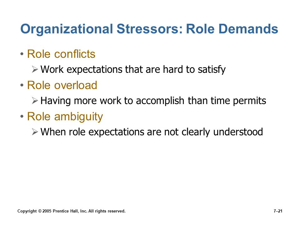 Copyright © 2005 Prentice Hall, Inc. All rights reserved.7–21 Organizational Stressors: Role Demands Role conflicts  Work expectations that are hard