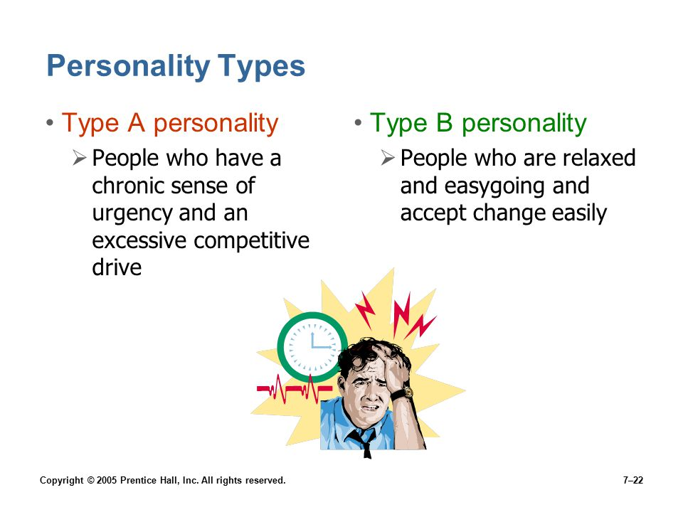 Copyright © 2005 Prentice Hall, Inc. All rights reserved.7–22 Personality Types Type A personality  People who have a chronic sense of urgency and an