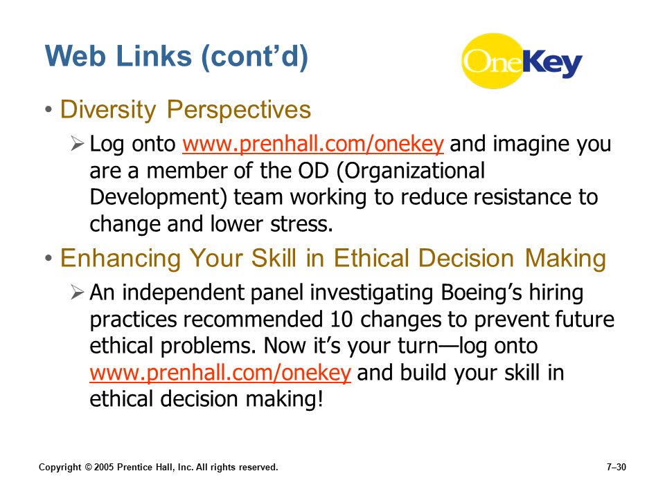 Copyright © 2005 Prentice Hall, Inc. All rights reserved.7–30 Web Links (cont'd) Diversity Perspectives  Log onto www.prenhall.com/onekey and imagine