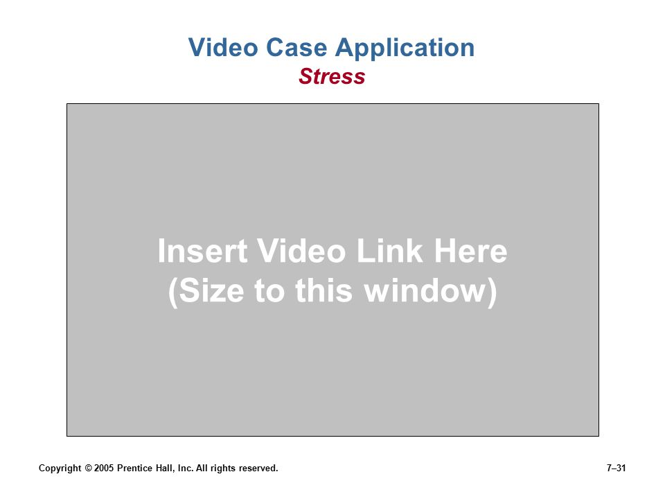 Copyright © 2005 Prentice Hall, Inc. All rights reserved.7–31 Video Case Application Stress Insert Video Link Here (Size to this window)