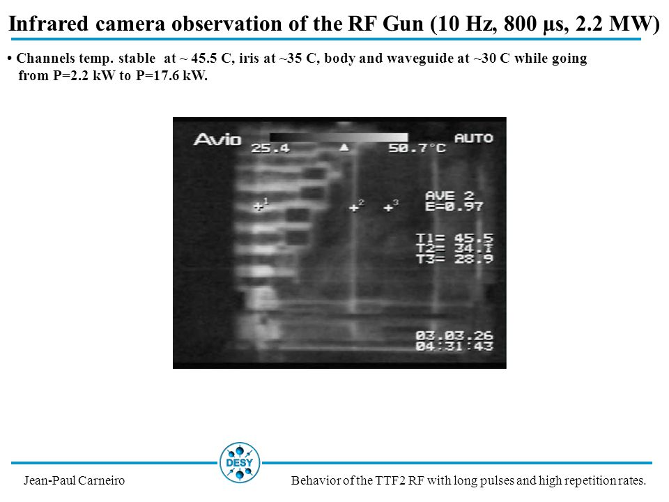 Infrared camera observation of the RF Gun (10 Hz, 800 µs, 2.2 MW) Jean-Paul CarneiroBehavior of the TTF2 RF with long pulses and high repetition rates.