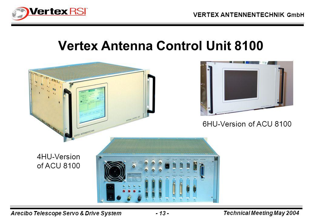 Arecibo Telescope Servo & Drive System - 13 - Technical Meeting May 2004 VERTEX ANTENNENTECHNIK GmbH Vertex Antenna Control Unit 8100 6HU-Version of ACU 8100 4HU-Version of ACU 8100