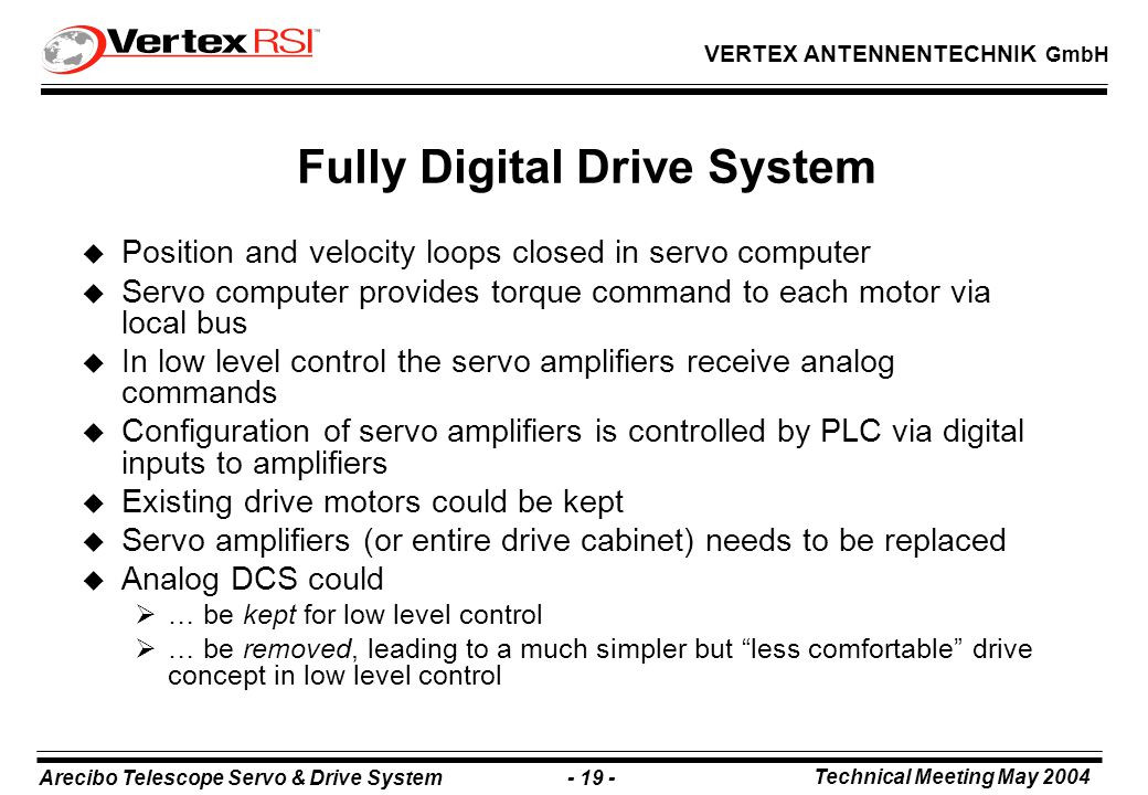 Arecibo Telescope Servo & Drive System - 19 - Technical Meeting May 2004 VERTEX ANTENNENTECHNIK GmbH Fully Digital Drive System u Position and velocity loops closed in servo computer u Servo computer provides torque command to each motor via local bus u In low level control the servo amplifiers receive analog commands u Configuration of servo amplifiers is controlled by PLC via digital inputs to amplifiers u Existing drive motors could be kept u Servo amplifiers (or entire drive cabinet) needs to be replaced u Analog DCS could  … be kept for low level control  … be removed, leading to a much simpler but less comfortable drive concept in low level control