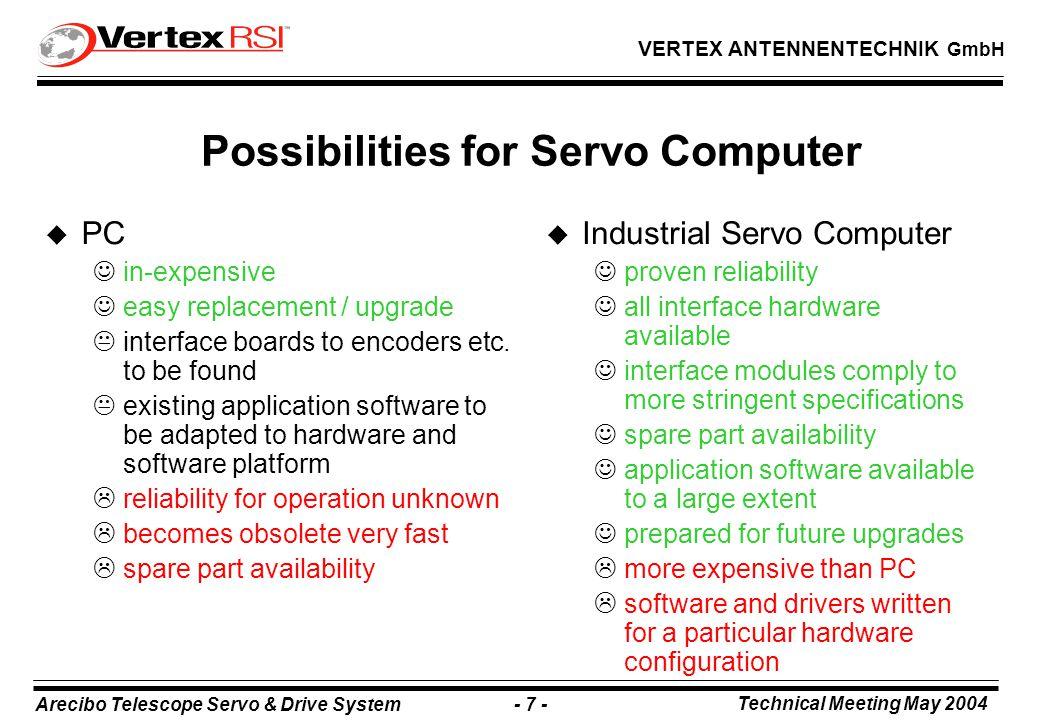 Arecibo Telescope Servo & Drive System - 18 - Technical Meeting May 2004 VERTEX ANTENNENTECHNIK GmbH