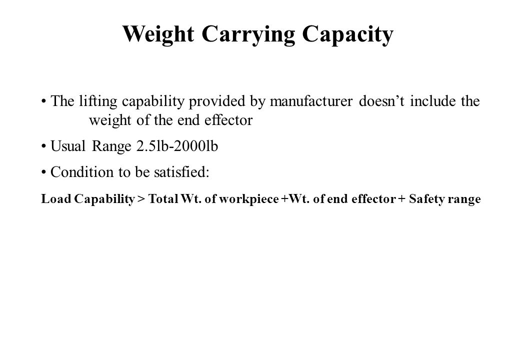 The lifting capability provided by manufacturer doesn't include the weight of the end effector Usual Range 2.5lb-2000lb Condition to be satisfied: Load Capability > Total Wt.