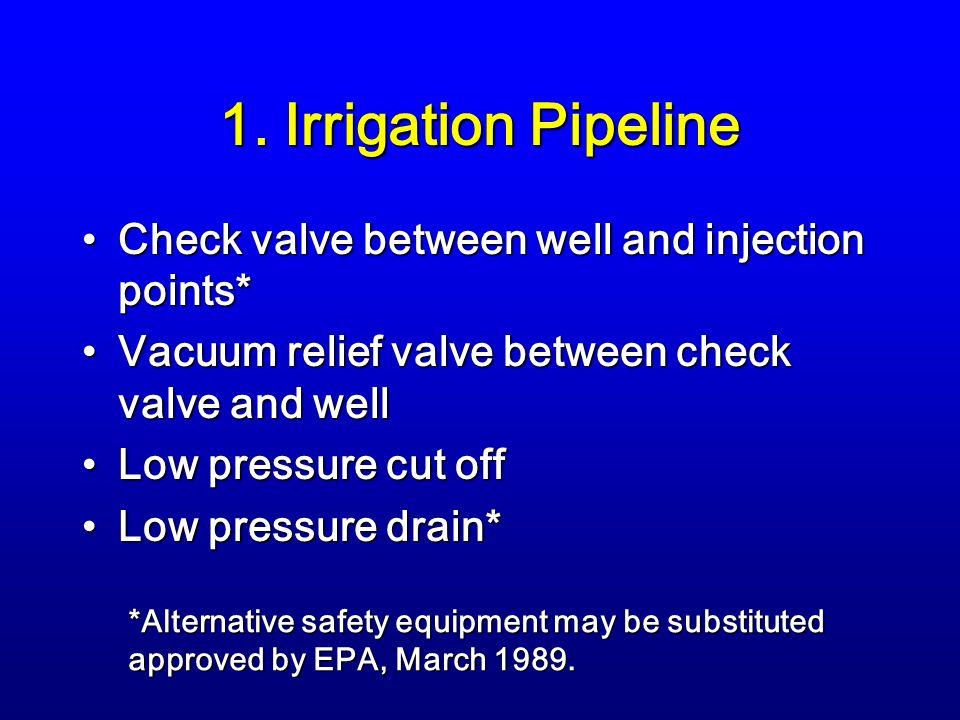 1. Irrigation Pipeline Check valve between well and injection points*Check valve between well and injection points* Vacuum relief valve between check