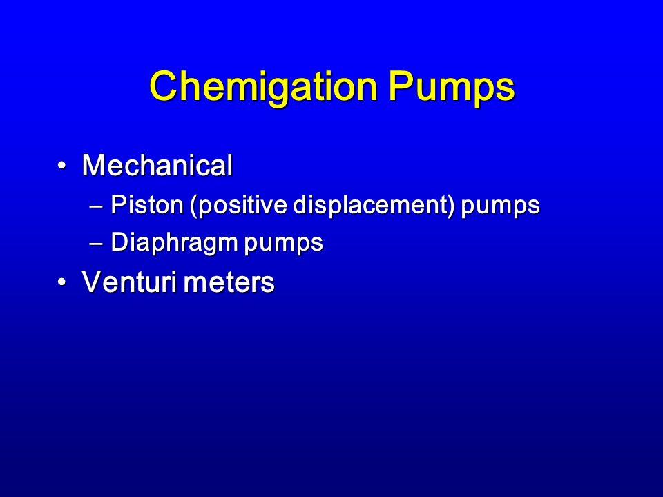 Chemigation Pumps MechanicalMechanical –Piston (positive displacement) pumps –Diaphragm pumps Venturi metersVenturi meters