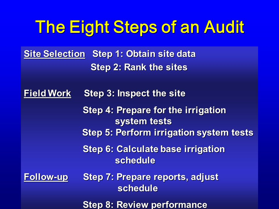 The Eight Steps of an Audit Site Selection Step 1: Obtain site data Step 2: Rank the sites Step 2: Rank the sites Field Work Step 3: Inspect the site Step 4: Prepare for the irrigation system tests Step 5: Perform irrigation system tests Step 4: Prepare for the irrigation system tests Step 5: Perform irrigation system tests Step 6: Calculate base irrigation schedule Step 6: Calculate base irrigation schedule Follow-up Step 7: Prepare reports, adjust schedule Step 8: Review performance Step 8: Review performance