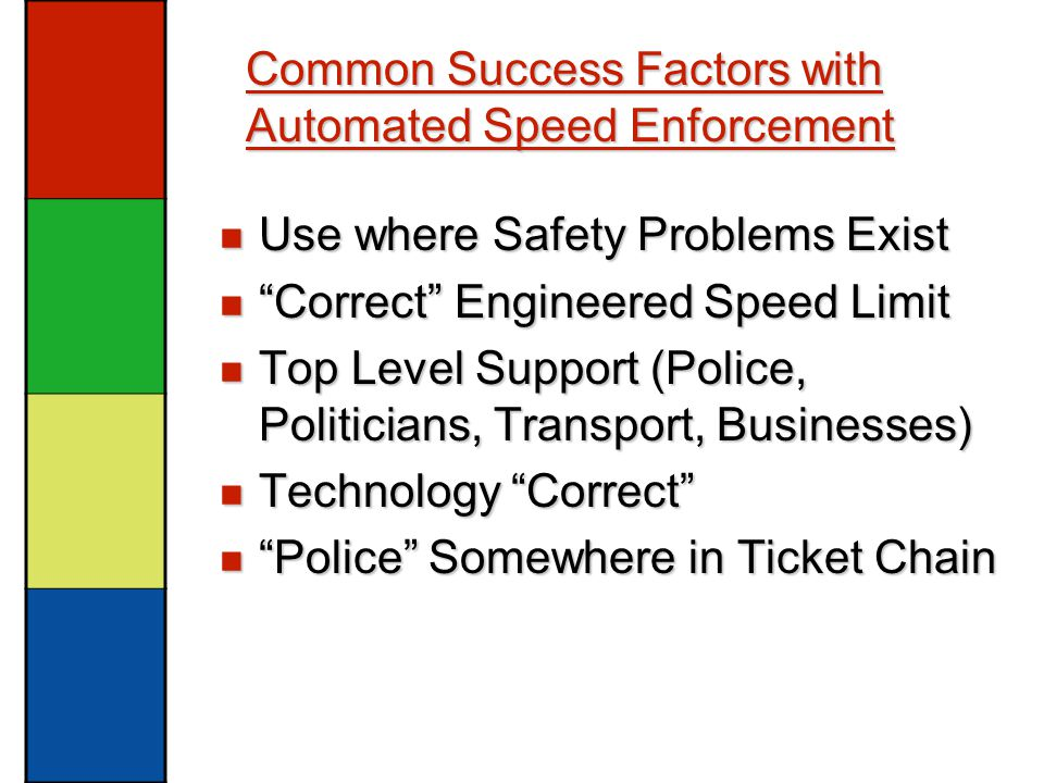 Common Success Factors with Automated Speed Enforcement Use where Safety Problems Exist Use where Safety Problems Exist Correct Engineered Speed Limit Correct Engineered Speed Limit Top Level Support (Police, Politicians, Transport, Businesses) Top Level Support (Police, Politicians, Transport, Businesses) Technology Correct Technology Correct Police Somewhere in Ticket Chain Police Somewhere in Ticket Chain