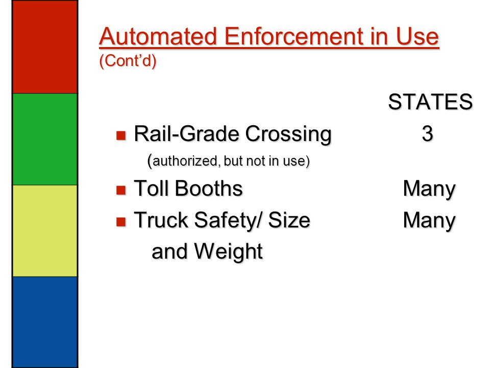 Automated Enforcement in Use (Cont'd) STATES STATES Rail-Grade Crossing 3 Rail-Grade Crossing 3 ( authorized, but not in use) ( authorized, but not in use) Toll Booths Many Toll Booths Many Truck Safety/ Size Many Truck Safety/ Size Many and Weight and Weight
