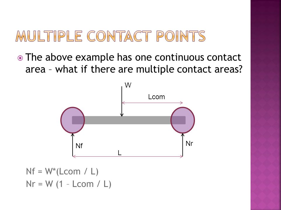 The above example has one continuous contact area – what if there are multiple contact areas.