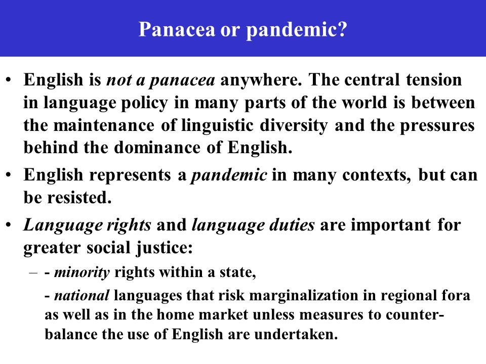 Panacea or pandemic.English is not a panacea anywhere.