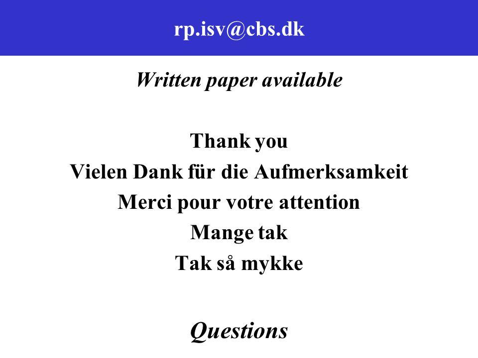 rp.isv@cbs.dk Written paper available Thank you Vielen Dank für die Aufmerksamkeit Merci pour votre attention Mange tak Tak så mykke Questions