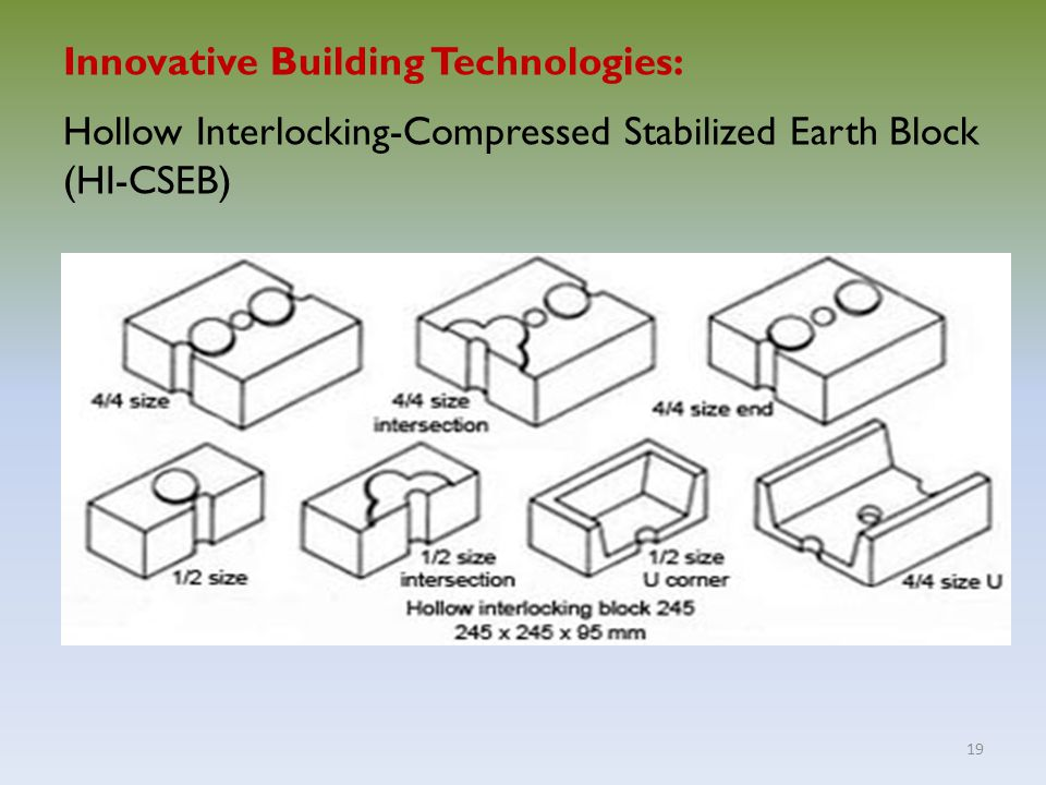 19 Innovative Building Technologies: Hollow Interlocking-Compressed Stabilized Earth Block (HI-CSEB)