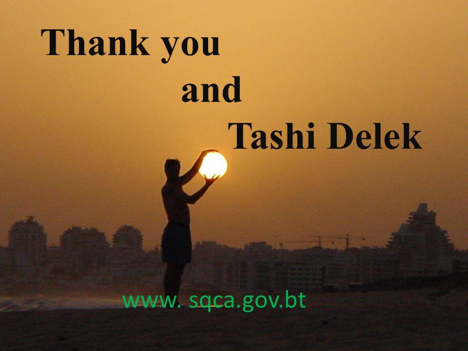 Thank you and Tashi Delek www. sqca.gov.bt
