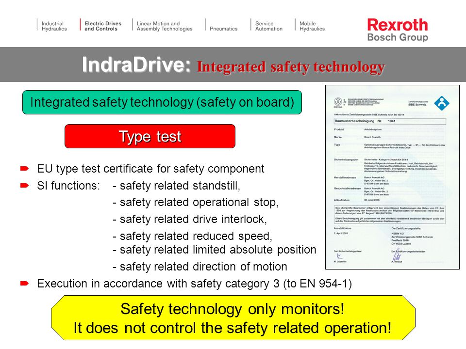 IndraDrive: Integrated safety technology  EU type test certificate for safety component  SI functions: - safety related standstill, - safety related operational stop, - safety related drive interlock, - safety related reduced speed, - safety related limited absolute position - safety related direction of motion  Execution in accordance with safety category 3 (to EN 954-1) Type test Integrated safety technology (safety on board) Safety technology only monitors.