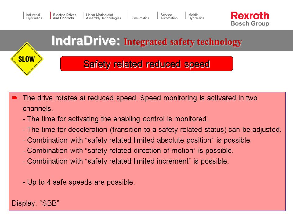 IndraDrive: Integrated safety technology  The drive rotates at reduced speed.