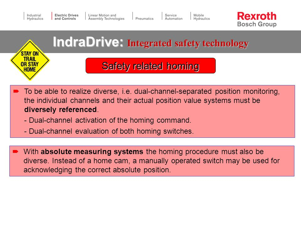 IndraDrive: Integrated safety technology Safety related homing  To be able to realize diverse, i.e.