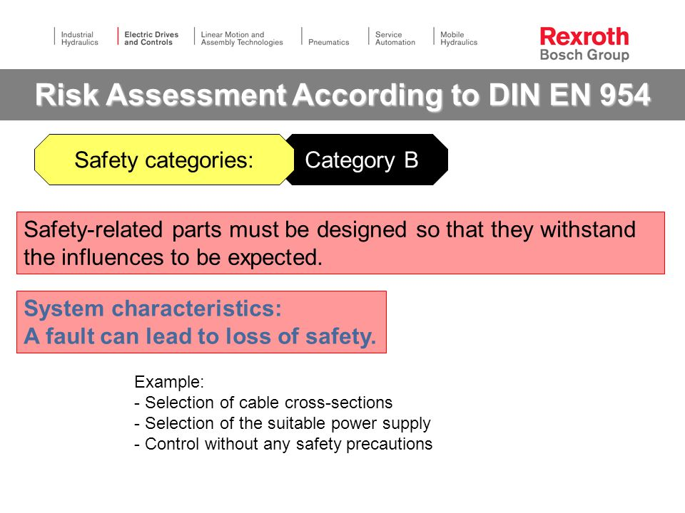 Category B Risk Assessment According to DIN EN 954 Example: - Selection of cable cross-sections - Selection of the suitable power supply - Control without any safety precautions Safety-related parts must be designed so that they withstand the influences to be expected.