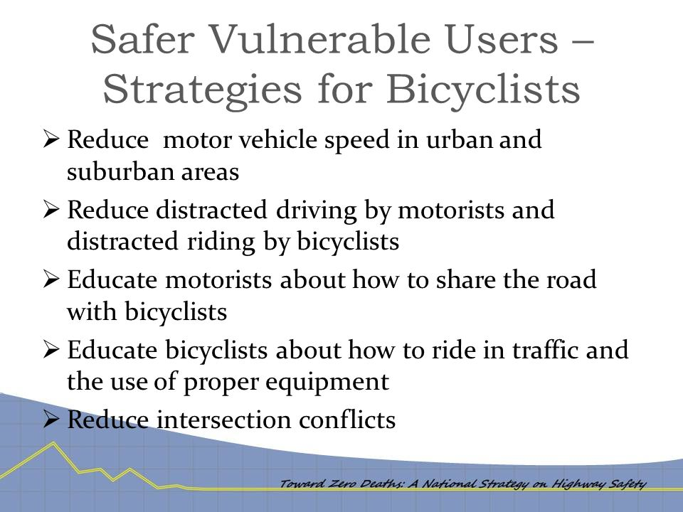 Safer Vulnerable Users – Strategies for Bicyclists  Reduce motor vehicle speed in urban and suburban areas  Reduce distracted driving by motorists a