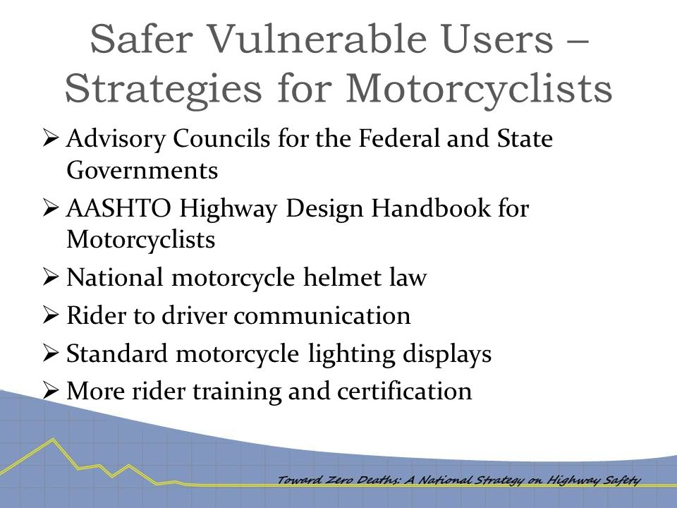 Safer Vulnerable Users – Strategies for Motorcyclists  Advisory Councils for the Federal and State Governments  AASHTO Highway Design Handbook for M