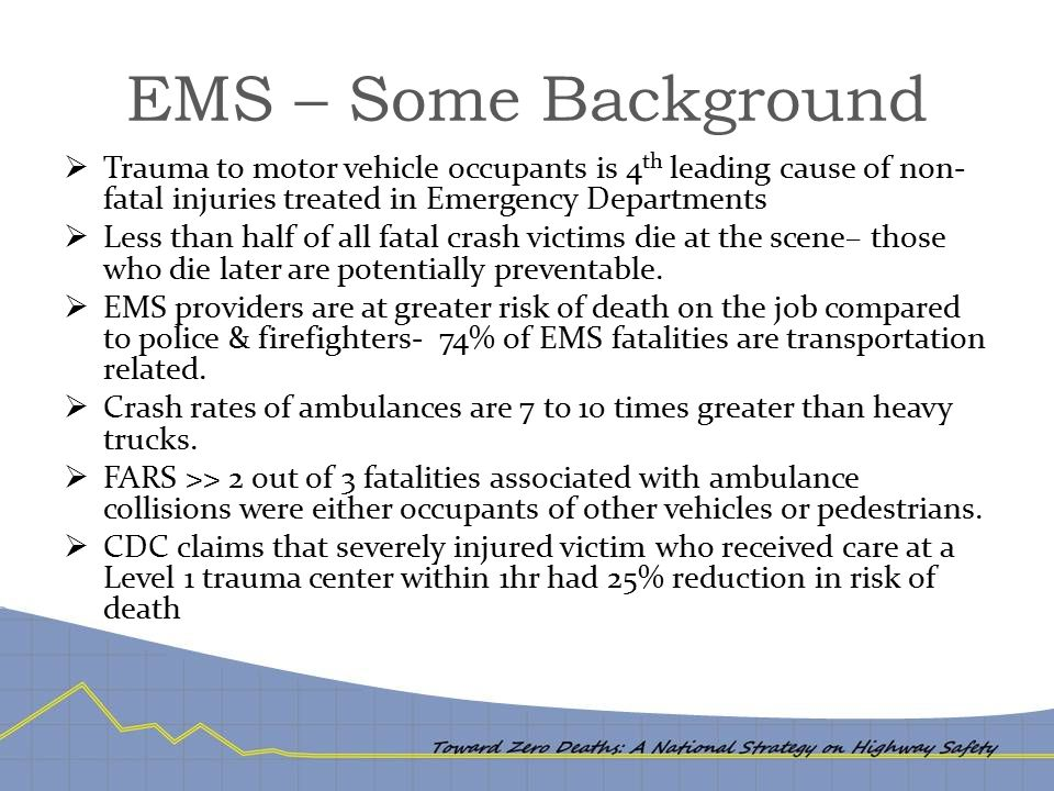 EMS – Some Background  Trauma to motor vehicle occupants is 4 th leading cause of non- fatal injuries treated in Emergency Departments  Less than ha