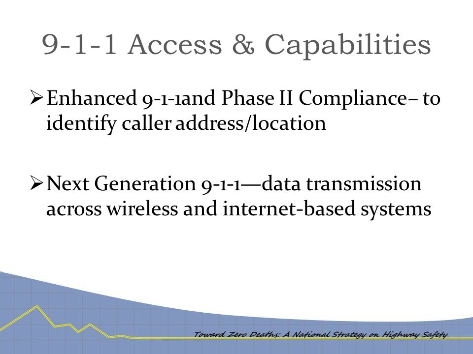9-1-1 Access & Capabilities  Enhanced 9-1-1and Phase II Compliance– to identify caller address/location  Next Generation 9-1-1—data transmission across wireless and internet-based systems