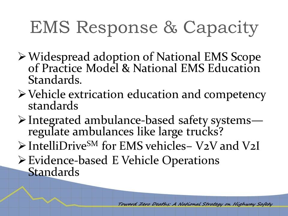 EMS Response & Capacity  Widespread adoption of National EMS Scope of Practice Model & National EMS Education Standards.  Vehicle extrication educat